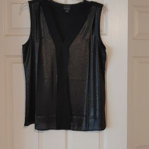 Covington Blouse- black, sheer and shimmery